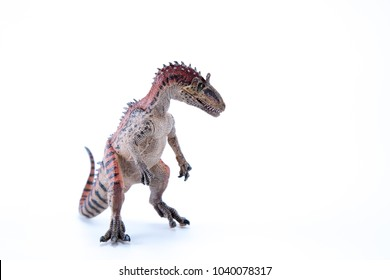 Cryolophosaurus dinosaur in attack position with white background