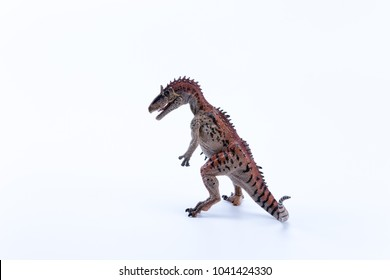 Cryolophosaurus dinosaur in attack position with white background mouth open
