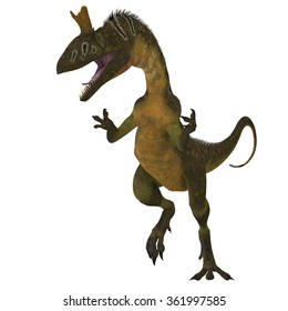 Cryolophosaurus Dinosaur on White - Cryolophosaurus was a large theropod carnivorous dinosaur that lived in Antarctica during the Jurassic Period.