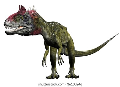 Cryolophosaurus Dinosaur wide angle giant head small body. Illustration on clean white background.