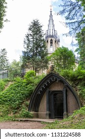 Crypt of Adolf and the Orthodox Church of the Apostles Peter and Paul in Shuvalovsky Park, St. Petersburg, Russia