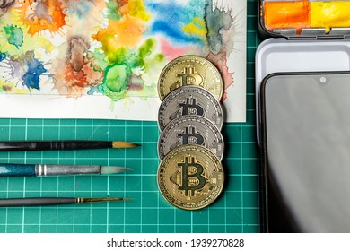 Crypto art transaction set. New way for making and selling digital arts is thru NFT market.