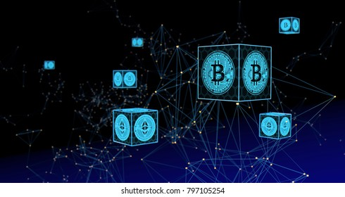 Crypto Currency Abstract Background. 3D illustration