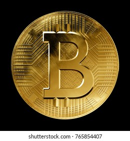 Crypto currency Bitcoin coin front view visualization isolated on black background, 3D illustration