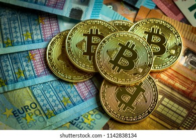 Crypto Currency Bitcoin Coins and Euro Background