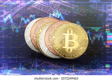Crypto currency bitcoin coins on banknotes and share graph background , digital virtual money concept