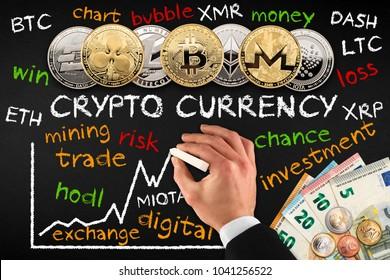crypto currency businessman blackboard trade school finance concept coin on chalkboard