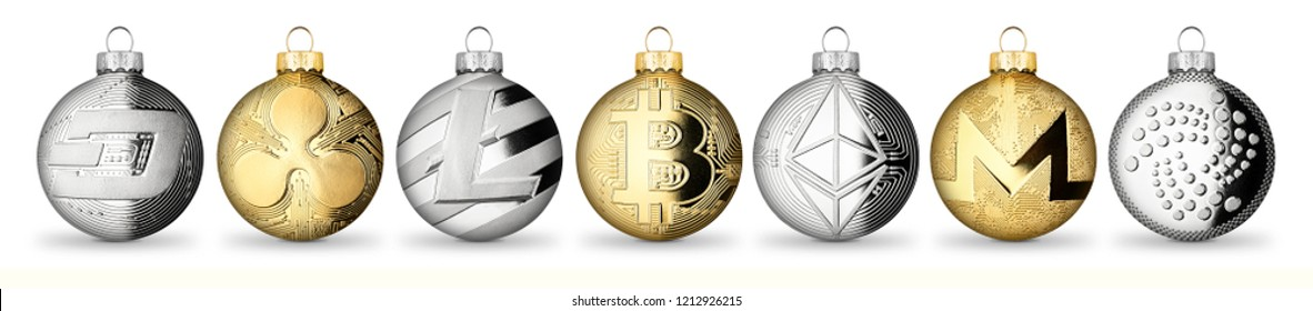 crypto currency coin christmas xmas ball bauble set collection gold silver bitcoin ethereum monero litecoin dash iota ripple isolated on white background