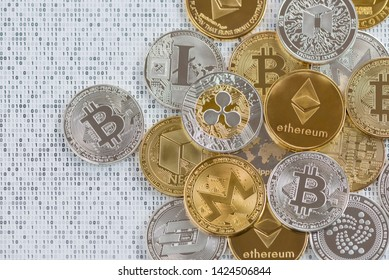 Crypto currency coins - Bitcoin, Litecoin, Dash, Ethereum, Monero, IOATA, Ripple, NEO on binary 1 and 0 background