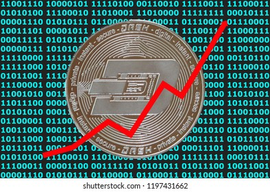 Crypto currency coins with digital backgraund and sales trend