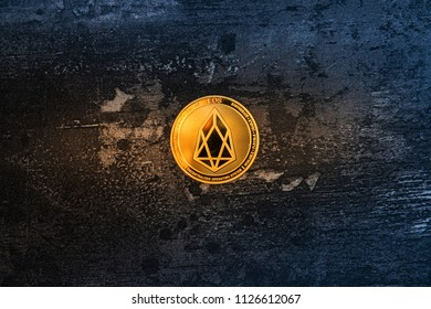 Crypto currency EOS.IO computer technology concept