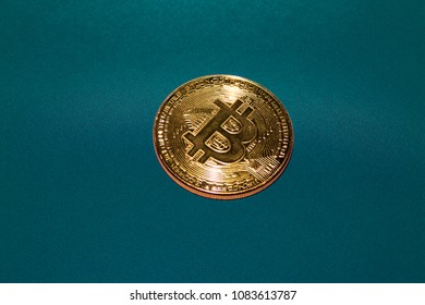 Crypto currency Gold Bitcoin, BTC, Bit Coin. Macro shot of Bitcoin coin isolated on white background with reflection. Blockchain technology, bitcoin mining concept