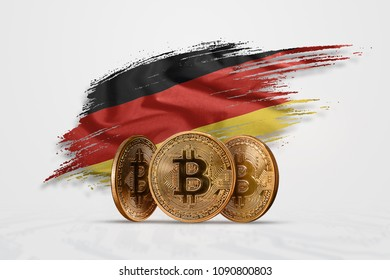 Crypto currency, gold coin BITCOIN BTC. Coin bitcoin against the background of the flag of Germany. The concept a new currency, Blockchain Technology , a token.