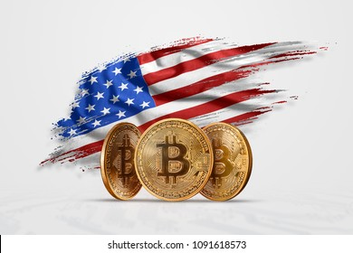 Crypto currency, gold coin BITCOIN BTC. Coin bitcoin against the background of the flag of the United States of America USA. The concept a new currency, Blockchain Technology , a token.
