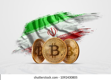 Crypto currency, gold coin BITCOIN BTC. Coin bitcoin against the background of the flag of Iran. The concept a new currency, Blockchain Technology , a token.