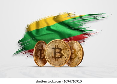 Crypto currency, gold coin BITCOIN BTC. Coin bitcoin against the background of the flag of Lithuania. The concept a new currency, Blockchain Technology , a token.