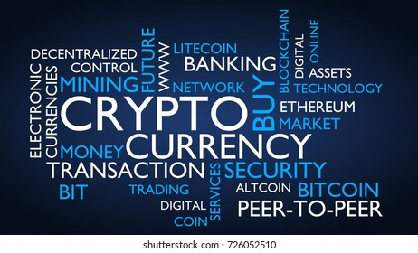 Crypto currency word tag cloud. 3D rendering, blue variant