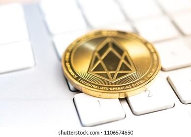 Crypto EOS.IO currency Bitcoin computer technology concept