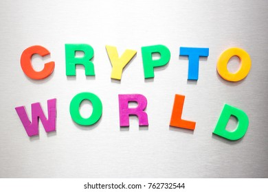 Crypto with plastic letters on silver background