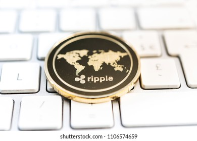 Crypto Ripple Coin currency Bitcoin computer technology concept