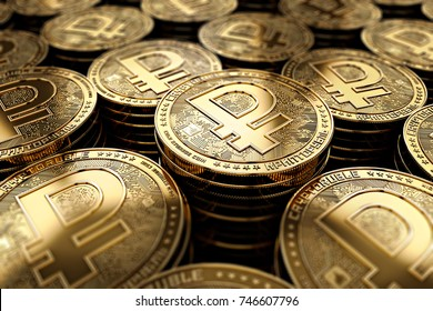 Crypto ruble coins in blurry closeup. New cryptocurrency and modern banking concept. 3D rendering.
