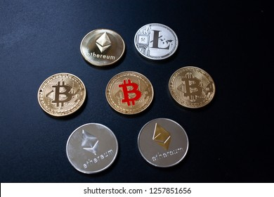 cryptocurrencies concept - bitcoin, litecoin, ethereum