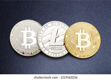 cryptocurrencies concept - bitcoin, litecoin, ethereum          - Image