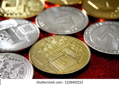 Cryptocurrency background / Bitcoin is a cryptocurrency, a form of electronic cash. It is a decentralized digital currency without a central bank