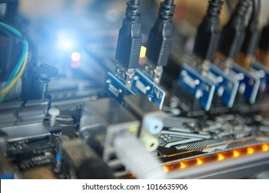 Cryptocurrency background (mining rig), Close up of array of GPUs for mining rig machine to mine for digital cryptocurrency such as bitcoin, ethereum and other altcoins.