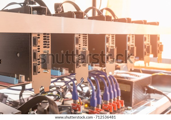 Cryptocurrency background (mining rig), Cryptocurrency mining rig using graphic cards to mine for digital cryptocurrency such as bitcoin, ethereum and other altcoins.