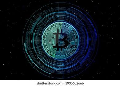 Cryptocurrency Bitcoin with blue technology background