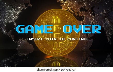 Cryptocurrency - Bitcoin BTC  virtual money on world map background - game over, crash.