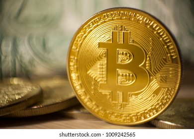 Cryptocurrency Bitcoin And Dollars. Bit Coins And Cash