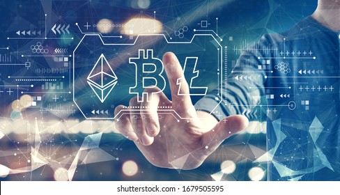 Cryptocurrency - Bitcoin, Ethereum, Litecoin with a man on blurred city background