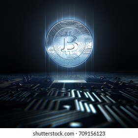 A cryptocurrency bitcoin hologram in coin form hovvering over a computer circuit board- 3D render
