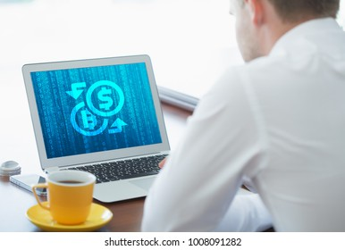 Crypto-currency,  Bitcoin internet virtual money. Currency Technology Business Internet Concept