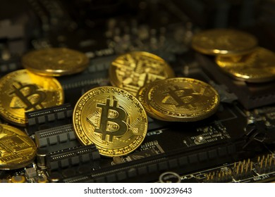 Cryptocurrency Bitcoin On The Chip. Gold Coin.virtual Currency