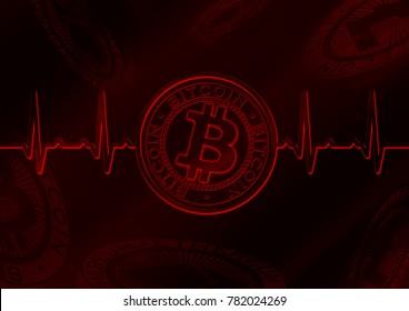 Cryptocurrency Bitcoin pulse red