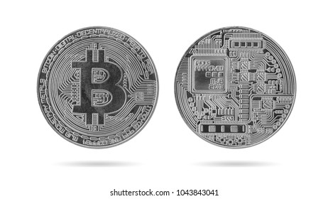 Cryptocurrency Bitcoin, Silver bitcoin isolated on white background.