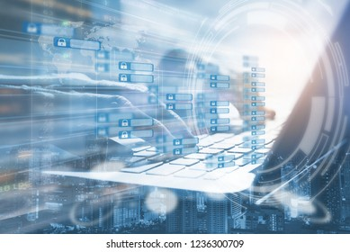 Cryptocurrency, Blockchain technology concept with chain diagram interface. Double exposure of businessman working on laptop computer, software developing and city with modern tech on virtual screen