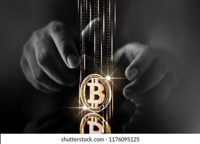 cryptocurrency business strategy ideas concept  business man hand try to hack steal crypto coin symbol on reflection floor dark color tone