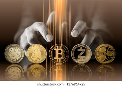 cryptocurrency business strategy ideas concept  business man hand hold crypto coin symbol on reflection floor dark color tone