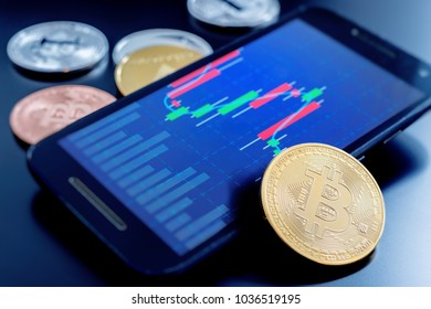 Cryptocurrency coins next to a cell phone showing candlestick chart