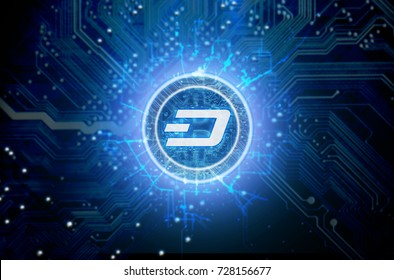 A cryptocurrency dash hologram in coin form hovvering over a computer circuit board