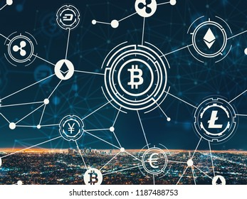 Cryptocurrency with downtown Los Angeles at night