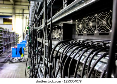 Cryptocurrency equipment mining money electronic finance coin on rack. Рealistic miner asic pictures