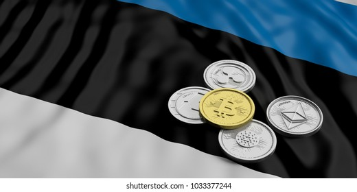 Cryptocurrency in Estonia concept. Golden bitcoin and variety of silver virtual coins on Estonia flag background. 3d illustration