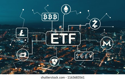 Cryptocurrency ETF theme with Downtown Los Angeles at night