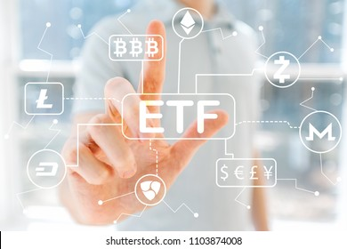 Cryptocurrency ETF Theme with young man in front of windows
