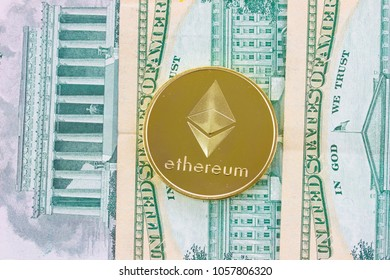 Cryptocurrency Ethereum. USA Dollars banknotes background